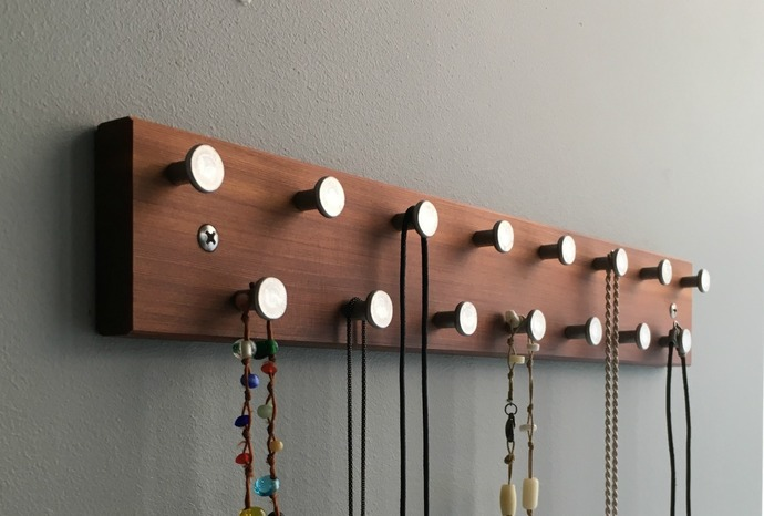 Necklace Rack Hanger Organizer Holder in Reclaimed Wood Made in USA