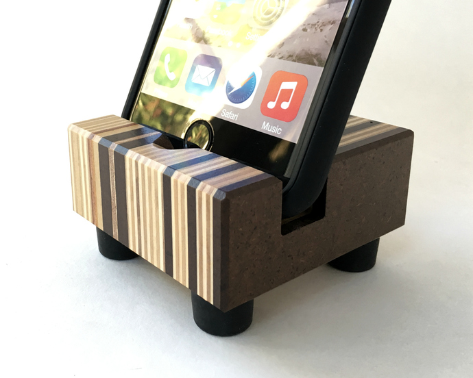 iPhone Stand in Striped Recycled Wood, With Black Rubber Feet, Made in USA