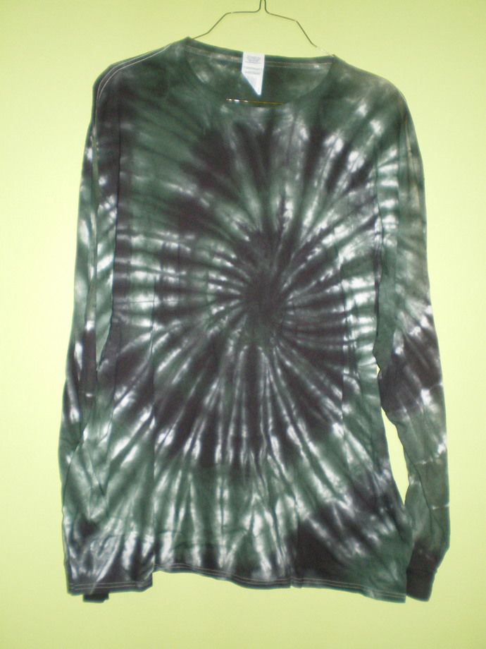 Green/black Tie Dye 2XL Long Sleeve T-Shirt