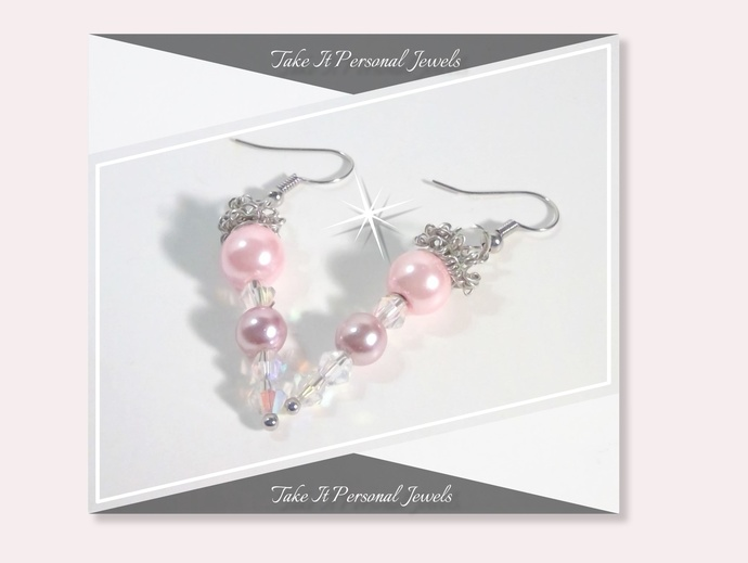 Crystal AB Bicone and Pearls Holiday Earrings Pink Handmade Dangle Icicle