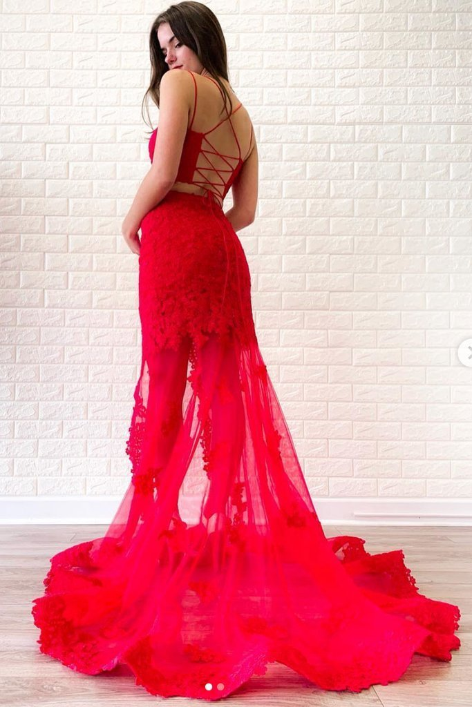 Red two pieces lace long prom dress, red lace evening dress,AE237
