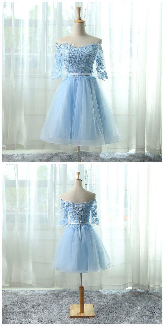 Elegant Homecoming Dresses,A-line Homecoming Dresses,Light Blue Homecoming