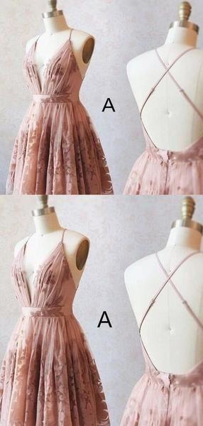 Spaghetti Straps Crisscross Back Lace Homecoming Dresses, Homecoming Dresses