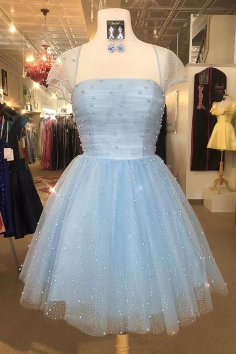 Cute Light Sky Blue Homecoming Dresses with Cap Sleeves