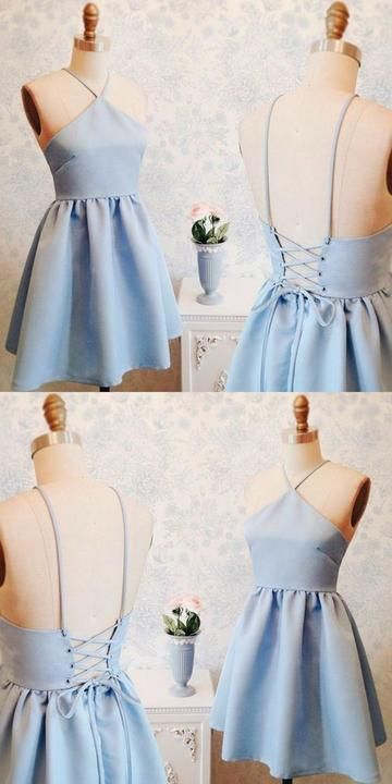 Blue Homecoming Dresses,short Homecoming Dresses,satin Homecoming Dress