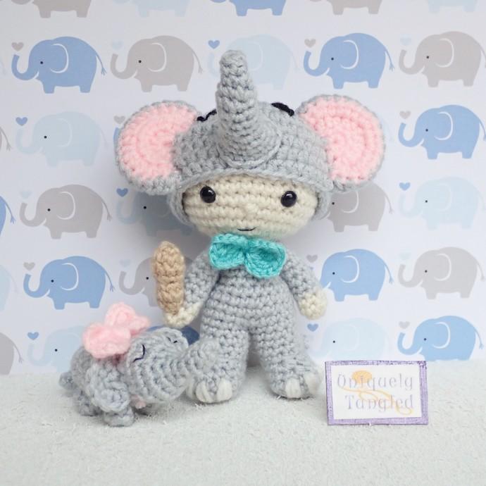Felton in Elephant Costume- Crochet Amigurumi Pattern- PDF