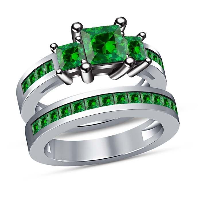 Green Emerald 14K White Gold Finish Princess Cut Ladies Engagement Wedding
