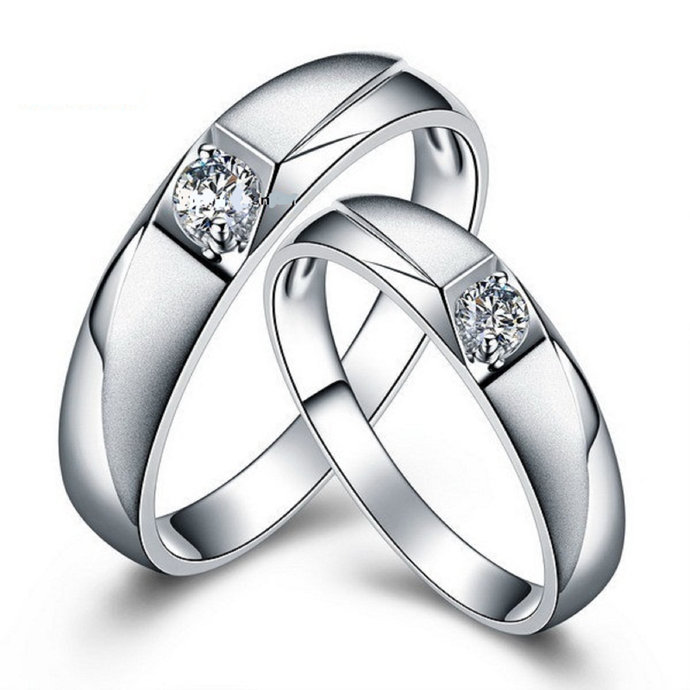 Solid Silver Couple Ring Set Promise Ring Set White Diamond Couple Ring His and