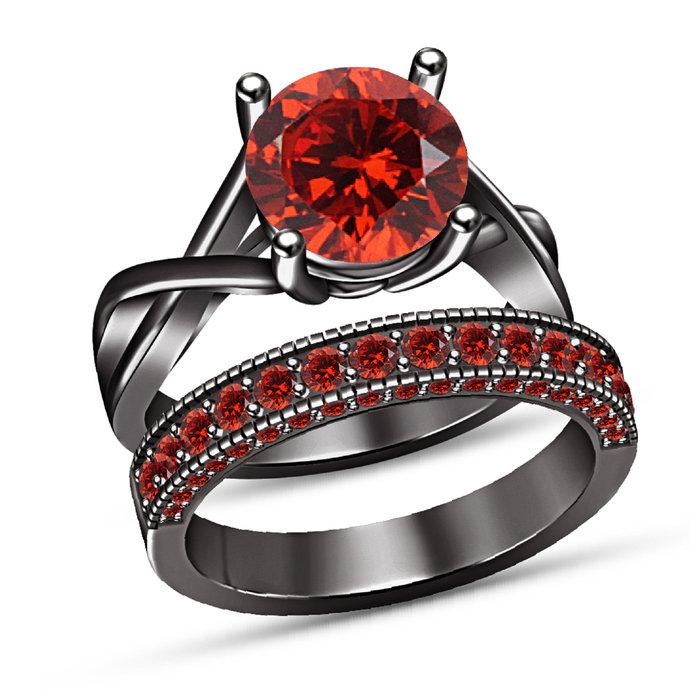 Round Cut Red garnet 925 Sterling Silver Women's Engagement Bridal Wedding Ring
