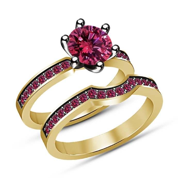 14K Yellow Gold Finish 925 Sterling Silver Round Cut Pink Sapphire  Bridal Set