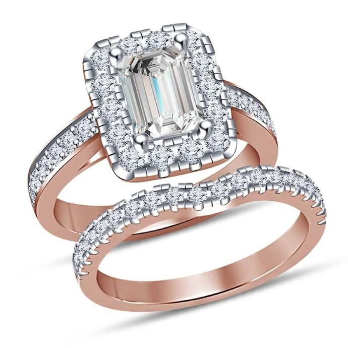 10K Rose Gold Finish Emerald Cut Lab-Created Diamond 925 Sterling Silver