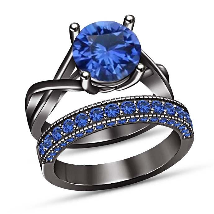 14k Black Gold Finish 925 Sterling Silver Blue Sapphire Engagement Bridal