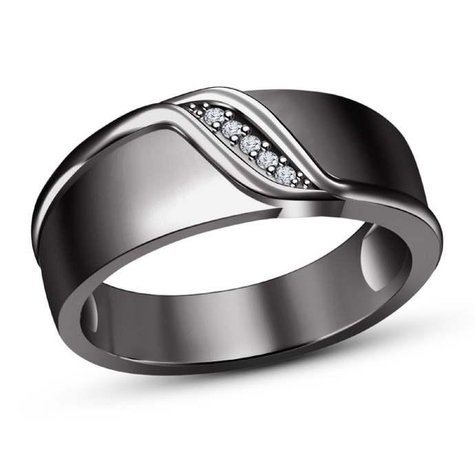 10K Black Gold Finish Men's Wedding Engagement Fancy Ring, 925 Sterling Silver