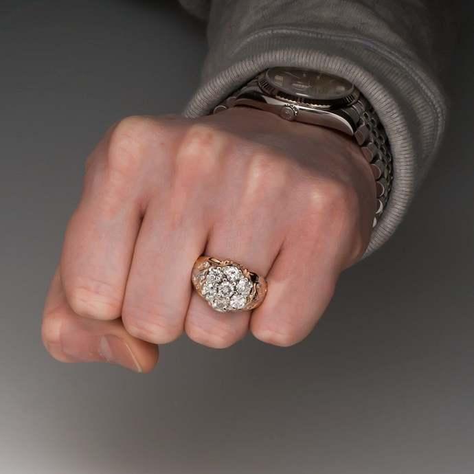 10k rose gold Filled round diamond cluster ring, Men's 10k diamond cluster ring,