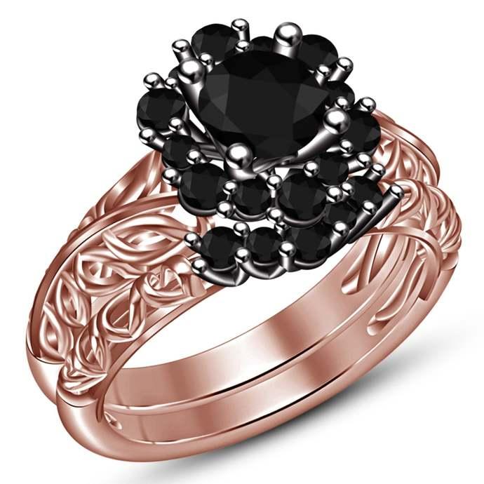 14k Rose Gold Finish Black Round Cut Diamond Engagement Wedding Band Ring Bridal