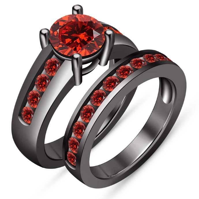 Round-Cut Red Garnet Solitaire With Accents Bridal Set Engagement Ring 10k Black