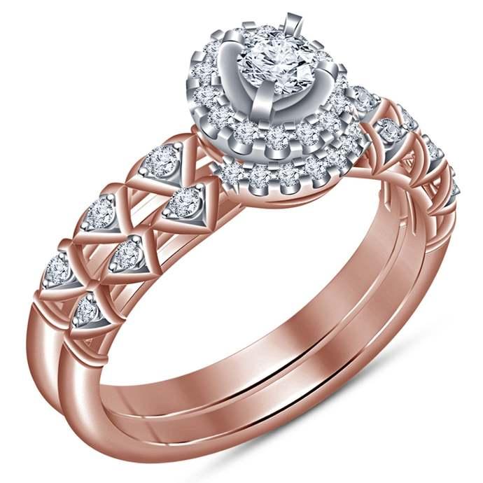 925 Silver Round Cut Diamond Fancy Engagement Wedding Band  14k Rose Gold Finish
