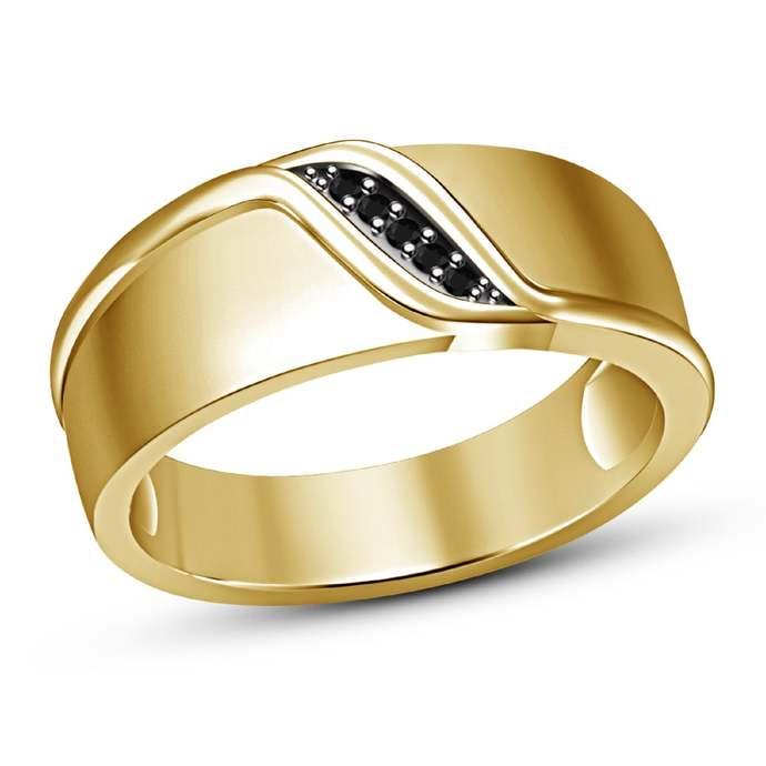 Mens Simple Ring, Yellow Gold Finish Black Diamond Classic Lover Ring,