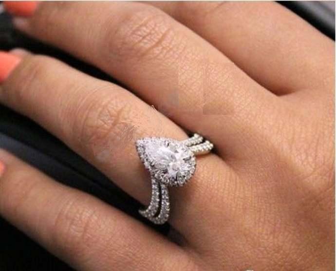 14K White Gold Finish White Pear Cut Diamond Bridal Set Engagement Wedding Ring