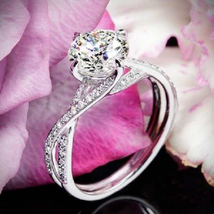 Simple Bypass Engagement Ring Round Cut Lab Grown Center Diamond Engagement Ring