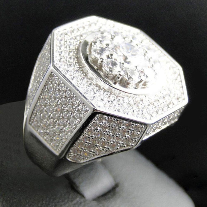 Mens 925 Sterling Silver White Round Cut Stone Engagement Ring White Gold Plated