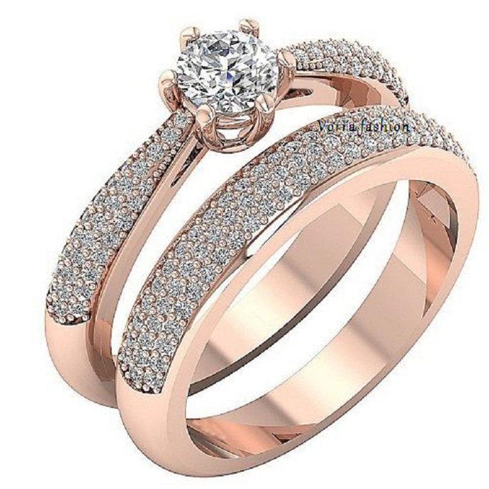 10K Rose Gold Finish Diamond Bridal Set Halo Engagement Ring + Wedding Band 925