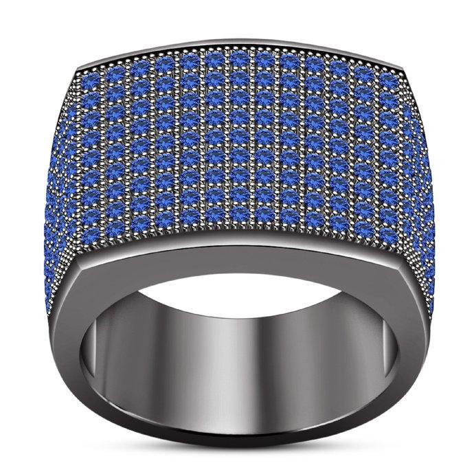 10K Black Gold Finish Round Cut Blue Sapphire Diamond Men's Engagement Pinky