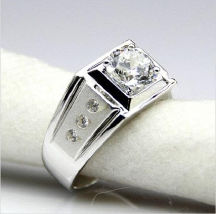 Round Cut Diamond Mens Engagement Ring 14K White Gold Finish Wedding Band Solid