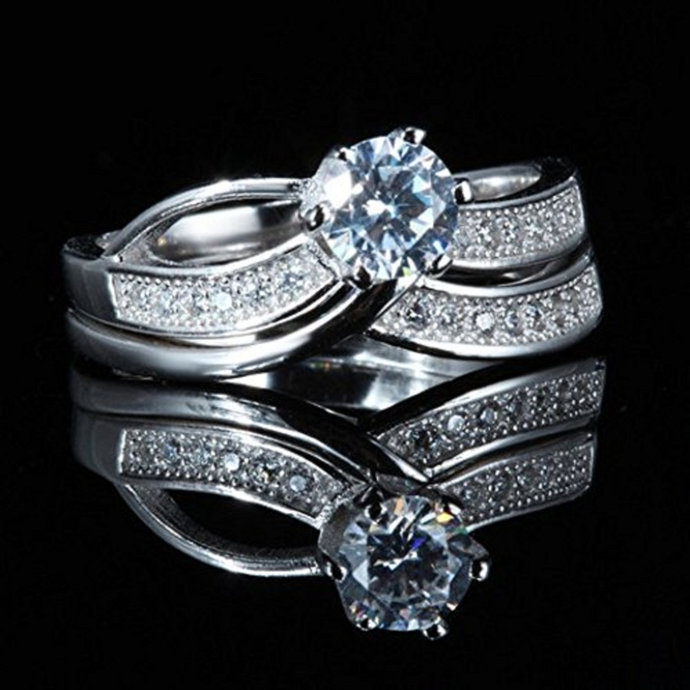 14k White Gold Finish Round Cut Diamond Wedding Bands Bridal Engagement Ring Set