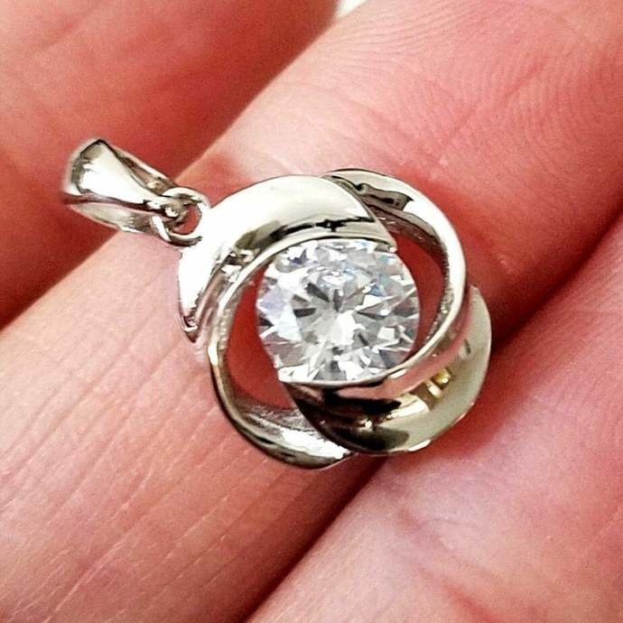 Round Cut Solitaire Diamond 925 Sterling Silver Pendant Charm 14K White Gold