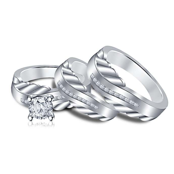 925 Silver Trio Ring Set Engagement Ring Wedding Band Simulated Diamond 18K