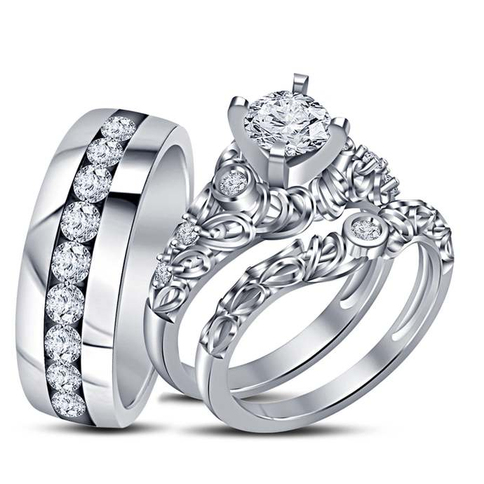 Simulated Diamond Trio Ring Set Engagement Ring 14K White Gold Finish 925 Silver