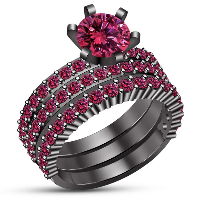 Solid 925 Sterling Silver Round Pink Sapphire,14K Black Gold Finish Three Piece
