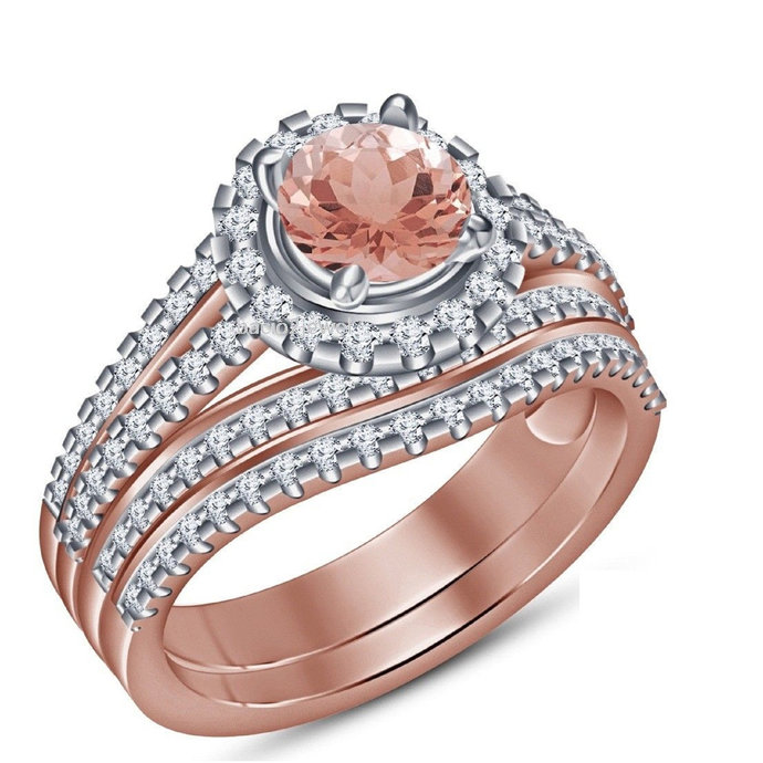 Solid 925 Sterling Silver Round Morganite,14K Rose Gold Finish Two Piece Wedding