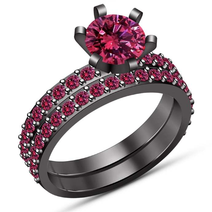 Solid 925 Sterling Silver Round Pink Sapphire,14K Black Gold Finish Two Piece