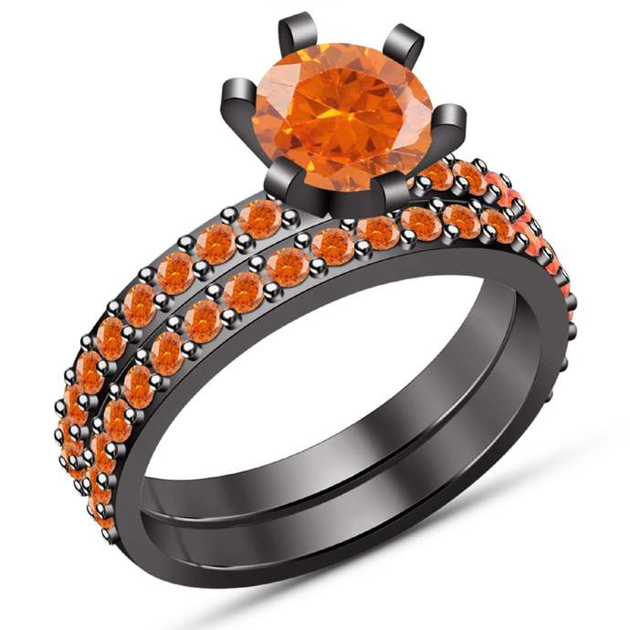 Solid 925 Sterling Silver Round Orange Sapphire,14K Black Gold Finish Two Piece