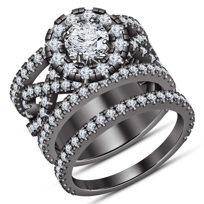 Solid 925 Sterling Silver Round White Diamond,14K Black Gold Finish Two Piece