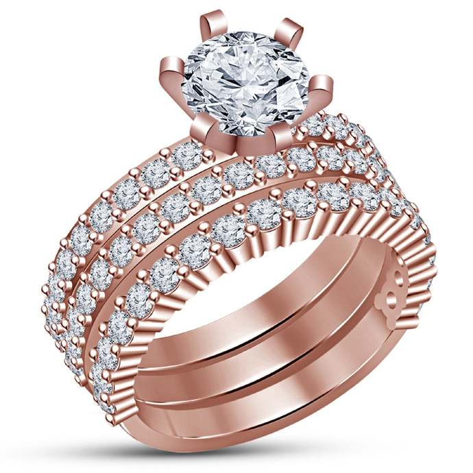 14k Rose Gold Finish White Round Cut Solitaire 3 Pieces Engagement Ring Sets 925