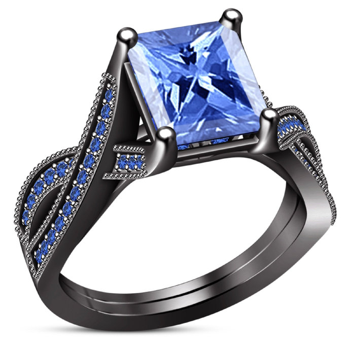 10k Black Gold Plated Princess Cut Blue Sapphire Wedding Engagement Ring 5 6 7 8