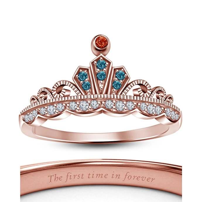 10k Rose Gold Finish CZ Disney Merida Princess Engagement Ring 925 Sterling