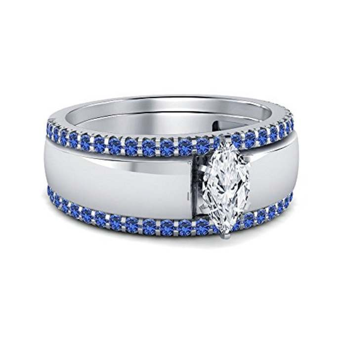 Round Shape Blue Sapphire With White Marquise shape,  925 Sterling Silver Ring