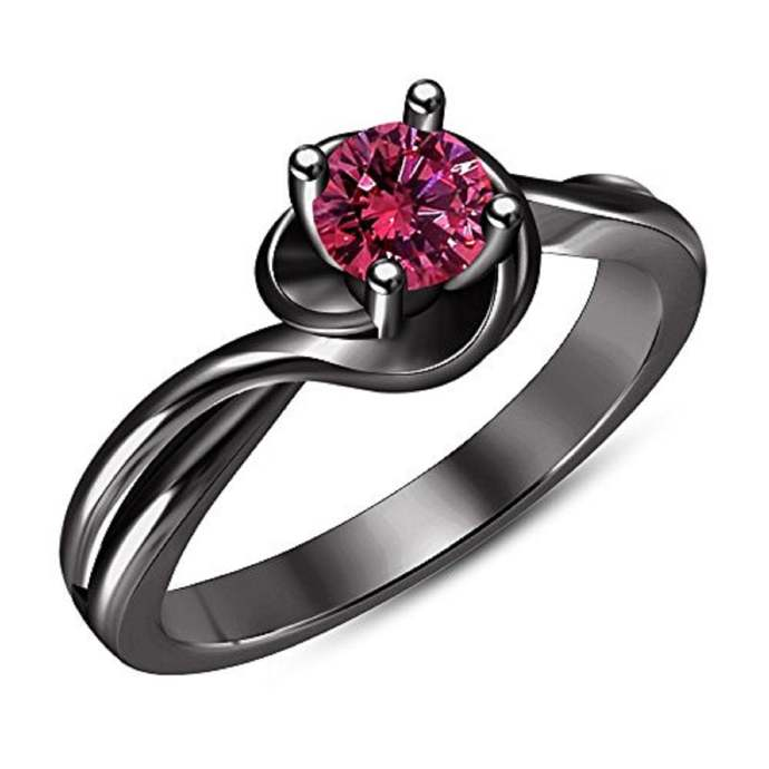 10k Black Gold Plated Ring Pink Sapphire Simple Ring, 925 Sterling Silver