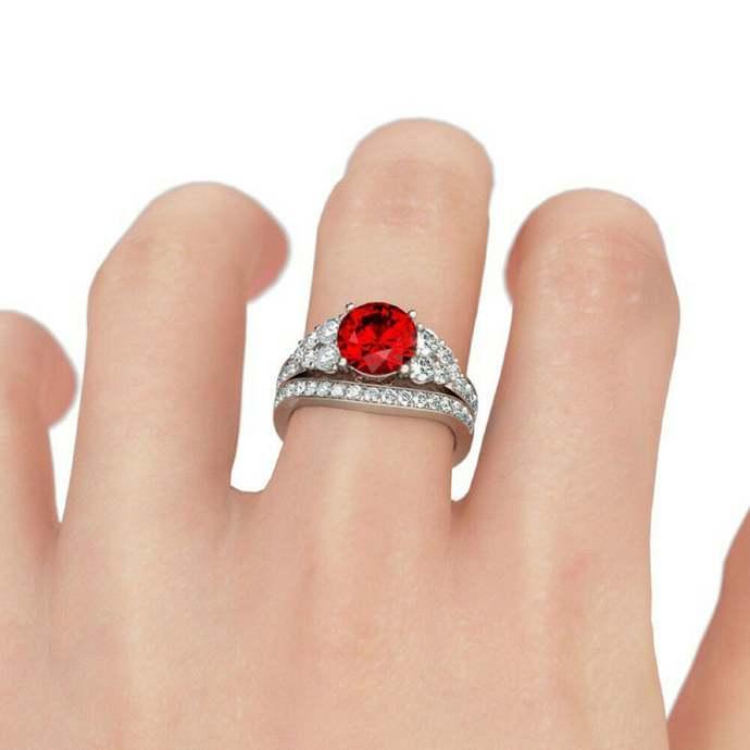 Round Cut Garnet 14K White Gold Finish Womens Engagement Wedding Bridal Ring Set