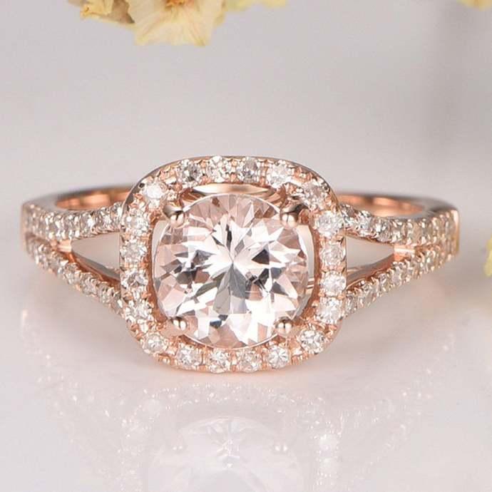 14K Rose Gold Finish Morganite Ring Round Cut Dainty Morganite Diamond Halo