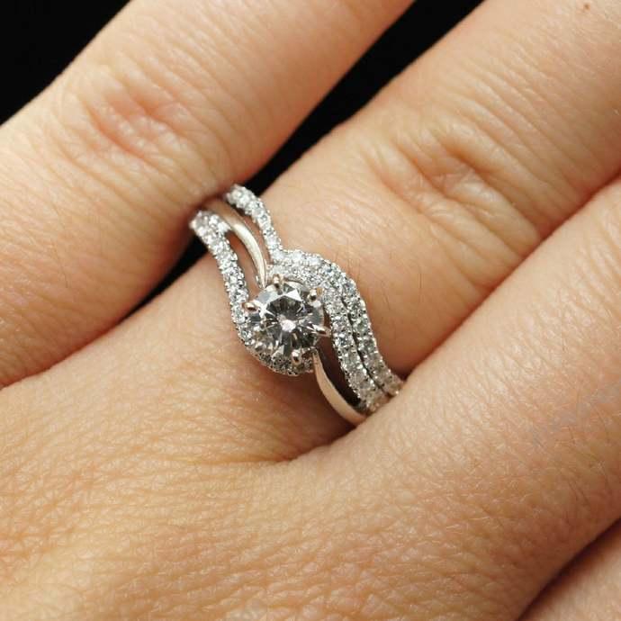 Simulated Diamond Ring, Sterling Silver, Engagement Ring Set, Bridal Ring Set,