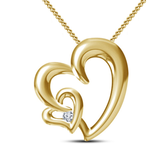 10k Yellow Gold Plated Double Heart Pendant With Necklace 18''