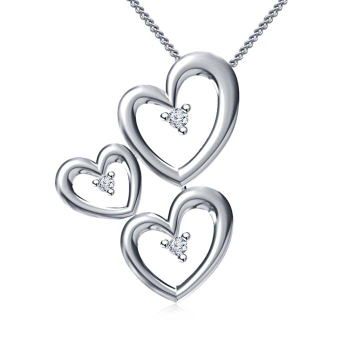 Solid Sterling Silver Necklace 18 inches 3 Open Hearts Love Symbol Romantic