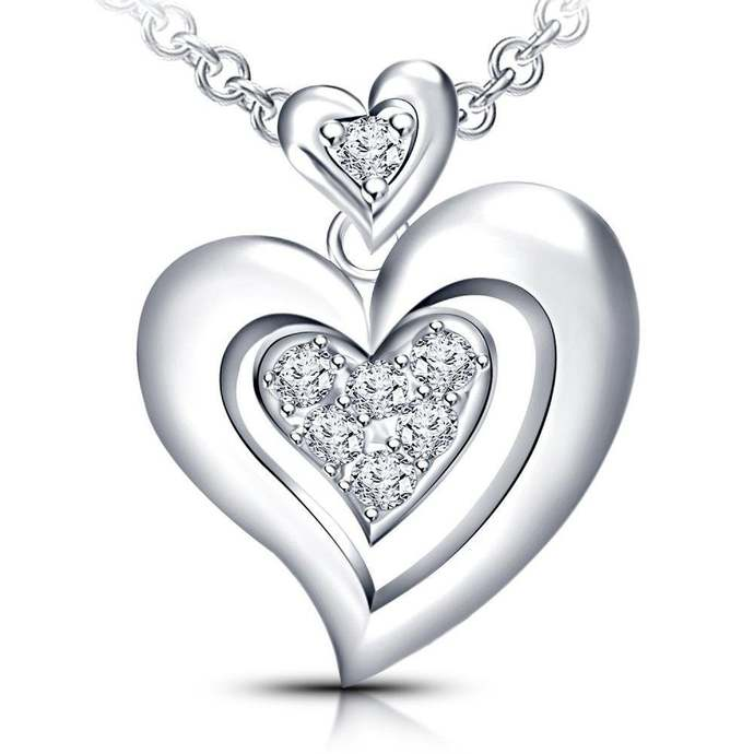 "Solid Silver Cubic Zirconia High Polish Heart Pendant Necklace 18"" with Extender"