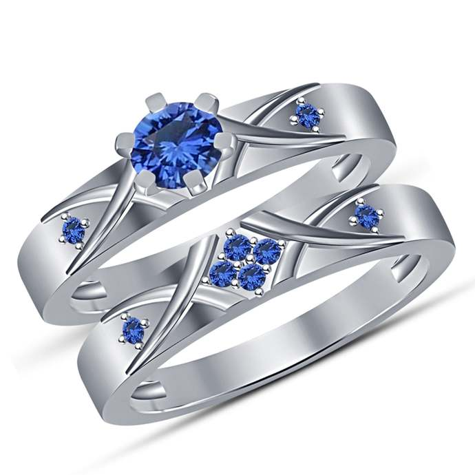 Solid 925 Sterling Silver Round Cut Blue Sapphire Engagement Ring and Wedding
