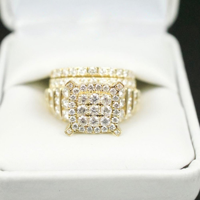 Round Diamond Cluster Engagement Ring & Wedding Band Set 10k Yellow Gold Finish